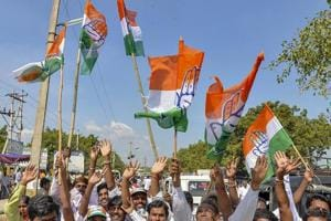 Congress party supporters celebrate party candidate VS Ugrappa