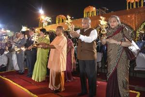 Uttar Pradesh chief minister Yogi Adityanath, chief guest South Korean First Lady Kim Jung-sook, MoS for External Affairs V K Singh and others perform
