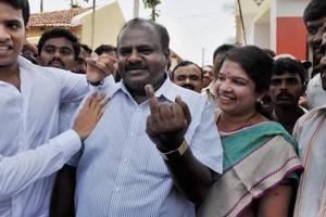 JD(S) state president H D Kumaraswamy, wife and Ramanagara MLA, Anita Kumaraswamy and son Nikhil in Ramanagara in Karnataka.