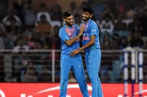 Khaleel Ahmed (right) celebrates the fall of a West Indies wicket with Bhuvneshwar Kumar.