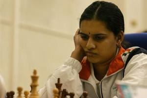 Humpy Koneru of India competes in the Women