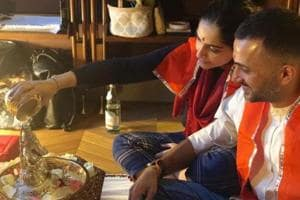 Sonam Kapoor, Anand Ahuja perform Diwali puja at their home in London.