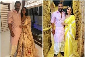 Ajay Devgn and Kajol shared pictures from their Diwali celebration.
