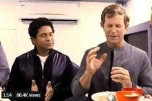 Screengrab of a video posted by Sachin Tendulkar on Twitter of him trying to guess namesof Indian sweets along with Jonty Rhodes and Brett Lee.