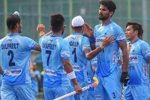 Rupinder Pal Singh with team mates celebrate a goal against New Zealand during the 2nd hockey match.