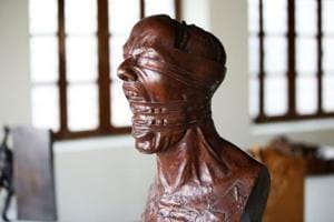A picture taken at the Museum of Modern Art in Kuwait City  shows a sculpture by Kuwaiti artist Sami Mohammed.