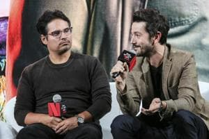 Michael Pena and Diego Luna speak during the Netflix See What