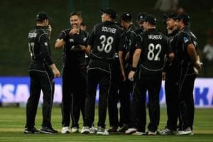 Trent Bolt of New Zealand celebrates his hatrick during the 1st One Day International match between Pakistan and New Zealand at Sheikh Zayed stadium.