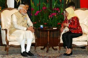 PM Narendra Modi  with Singapore's President Halimah Yacob at the Istana in Singapore