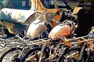 As many as 18 vehicles in Delhi's Madangir village near Ambedkar Nagar were gutted after an unidentified man set them on fire early morning on Tuesday, November 6, 2018.