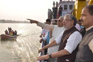 Bihar chief minister Nitish Kumar and deputy CM Sushil Kumar Modi inspecting a Chhath ghat in Patna, on Thursday, November 8, 2018.