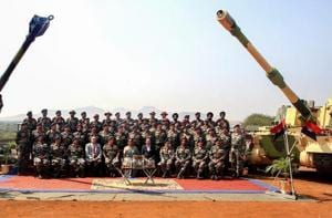 Defence minister Nirmala Sitharaman, Army Chief General Bipin Rawat and others pose for a group photograph during a ceremony at Deolali artillery centre, in Nashik district on  November 9.