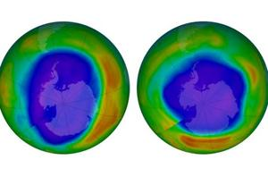 This combination of images made available by NASA shows areas of low ozone above Antarctica on September 2000, left, and September 2018. The purple and blue colors are where there is the least ozone, and the yellows and reds are where there is more ozone. A United Nations report released on Monday, Nov. 5, 2018 says Earth's protective ozone layer is finally healing after aerosol sprays and coolants ate away at it