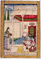 A miniature from the album of Ragamala, circa 1754, shows lovers being served on a terrace. The bow and arrow held by the man are symbols of Kama, the god of love.