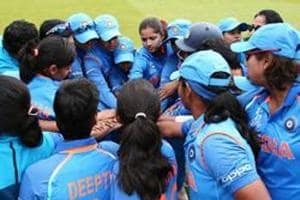 File image of players of Indian women's cricket team during a huddle ahead of a game.