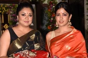 Tanushree Dutta with sister Ishita Dutta at the Kali temple on the occasion of Kali puja.