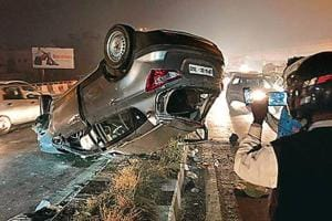 The car that the accused was driving rammed the divider and hit the SUV on the other side at a flyover in Punjabi Bagh.