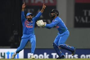 Indian captain Rohit Sharma and wicket-keeper Dinesh Karthik