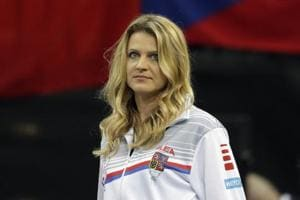 Tennis player Lucie Safarova of the Czech Republic watches a tennis match of the Fed Cup Final between Czech Republic and United States in Prague.