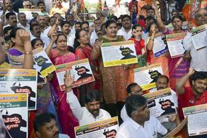 BJP Party leaders and workers raise slogans against the State Government as they oppose the celebration of 'Tipu Jayanti', in Bengaluru. The decision of Karnataka chief minister HD Kumaraswamy and his deputy G Parameshwara to skip government-sponsored Tipu Sultan Jayanti celebrations has drawn sharp attack from the  BJP.