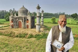Faizul Hasan Qadri standing in front of the replica of Taj Mahal built by him for his wife who died of throat cancer. Qadri died in a road accident onThursday