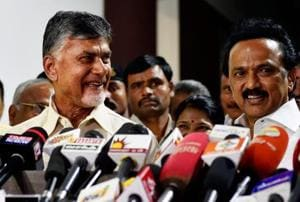 Andhra Pradesh chief minister N Chandrababu Naidu addresses the media with DMK president MK Stalin at the latter