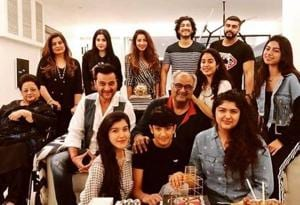 Arjun Kapoor posted a family picture from their celebration of Boney Kapoor's birthday.