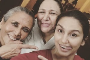 Huma Qureshi poses with Deepa Mehta on the sets of Leila.