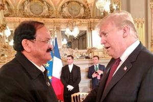 Vice-president M Venkaiah Naidu met United States president Donald Trump and French president Emmanuel Macron at a banquet hosted by the latter in honour of Heads of States who are attending a ceremony in Paris to commemorate the Armistice of First World War.