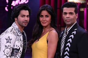 Katrina Kaif, Varun Dhawan and Karan Johar in a promotional image from Koffee With Karan.