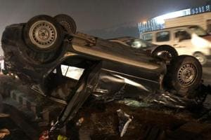 Damaged cares seen after a drunk driving accident took place in west Delhi's Punjabi Bagh Flyover on Friday night.