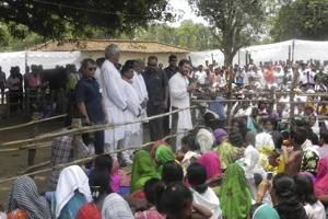 Congress vice president Rahul Gandhi interacts with the people at Madanpur village chaupal, in Korba, Chhattisgarh on June 15.