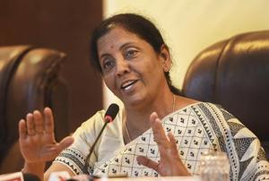 Union Defence Minister Nirmala Sitharaman speaks during a press conference at Yelahanka airforce station in Bengaluru.