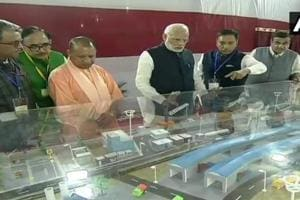 The projects inaugurated by PM Modi include a multi-modal terminal on the Ganga near Ralhupur village as part of the Centre's Jal Marg Vikas Project.