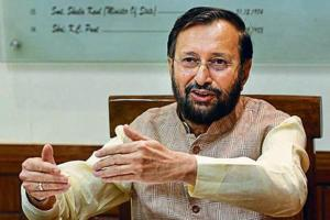 Union minister Prakash Javdekar at an interview in New Delhi on May 22, 2018.
