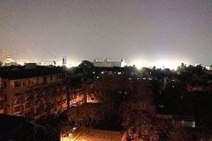 The floodlights from Wilson Gymkhana, as seen from petitioner Nilesh Desai's home in Kalbadevi.