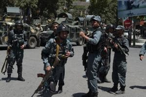 Afghan policemen arrive at the site of a suicide blast in Kabul on July 2017. A suicide bomber blew himself up in the Afghan capital of Kabul on Monday, senior security officials said, but there was no immediate word on casualties.