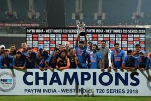 India vs West Indies 3rd T20I: Indian players celebrate after winning the T20I series against West Indies on Sunday.