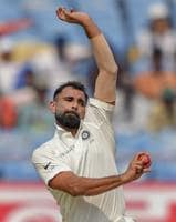 Rajkot: Indian bowler Mohammed Shami bowls during the first test cricket match played between India and West Indies.
