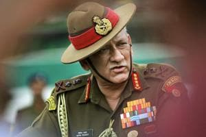 Army chief general Bipin Rawat addresses media during celebration of
