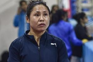 Boxer Sarita Devi practices for the upcoming