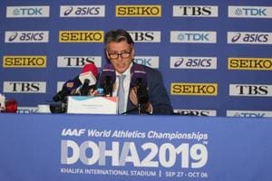 International Association of Athletics Federations (IAAF) President Sebastian Coe speaks during IAAF World Athletics Championships Doha 2019 Official Press Conference in Qatar