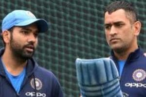 Rohit Sharma with MS Dhoni during a practice session on the eve of the second ODI cricket match against Sri Lanka.