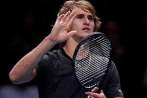 Alexander Zverev celebrates after winning his group stage match against Croatia
