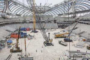 Construction is continuing apace at Al Wakrah stadium, where the 2022 World Cup games will take place in Doha, Qatar, May 17, 2018.