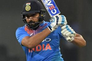 Rohit Sharma plays a shot during the second T20 cricket match between India and West Indies.