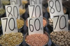 Samples of pulses are displayed in a wholesaler at Khari Baoli spice market in New Delhi.