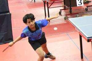 Radhika Sakpal in action at the 49th inter-district and 80th Maharashtra state championship table tennis tournament 2018 at Shree Shiv Chhatrapati Sports complex in Balewadi on Monday.