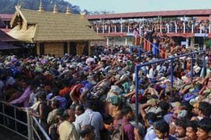 Worshippers queue during a pilgrimage at the Sabarimala temple in Kerala.