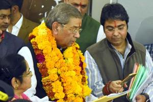 MLA and former BJP minister Ghanshyam Tiwari filed nomination for Rajasthan assembly polls at district collector
